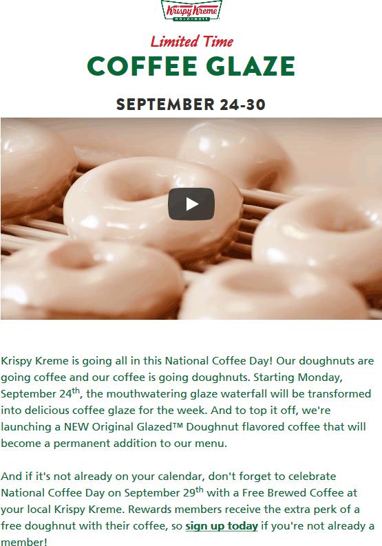 Krispy Kreme Coupon May 2019 Free donut & coffee Friday at Krispy Kreme