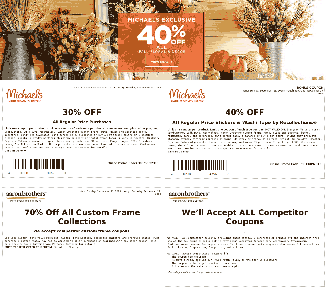 Michaels.com Promo Coupon 30% off at Michaels, or online via promo code 30SAVE92318