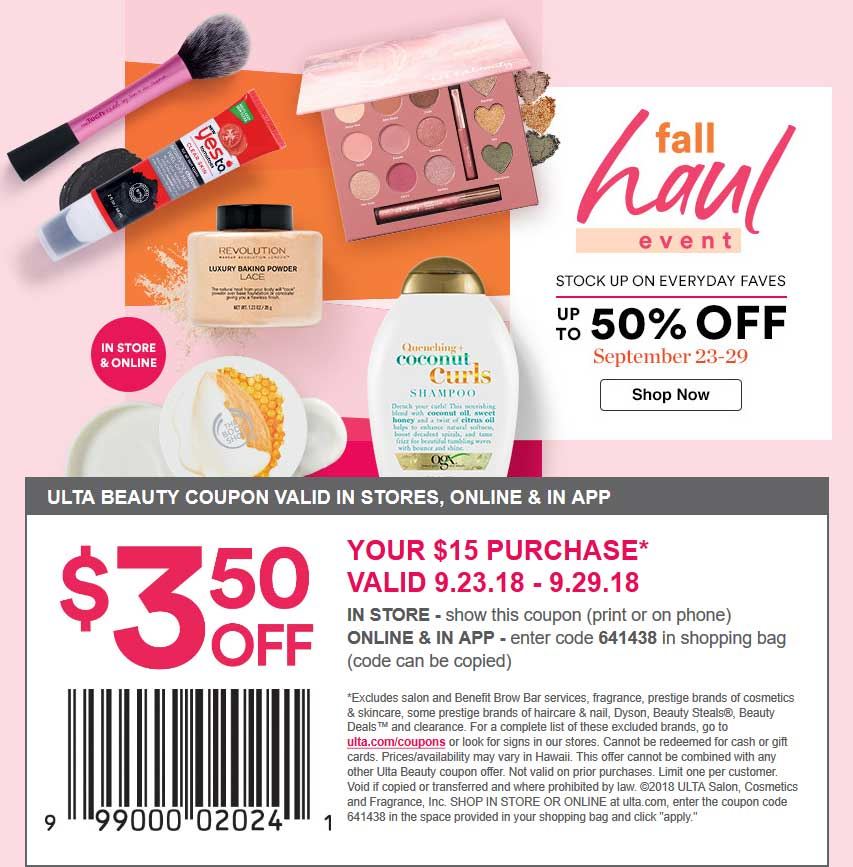 Ulta Coupon November 2019 $3.50 off $15 at Ulta Beauty, or online via promo code 641438