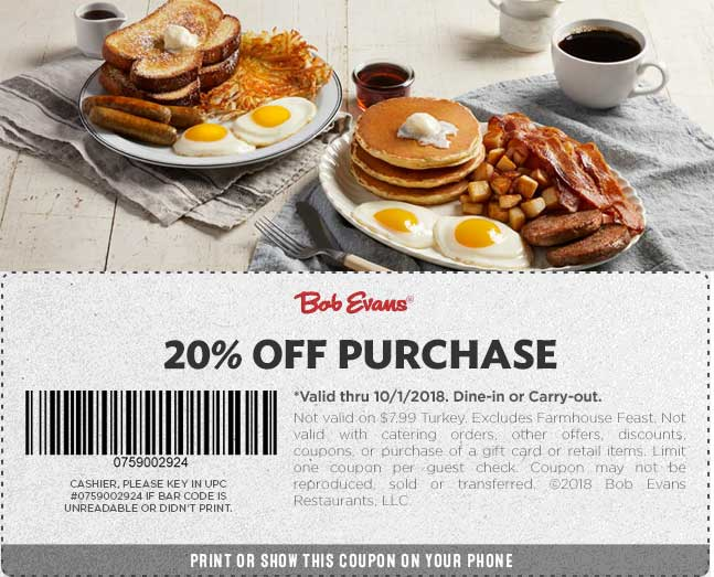 Bob Evans Coupon November 2019 20% off at Bob Evans restaurants