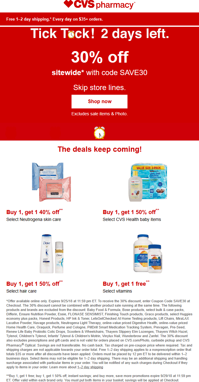 CVSPharmacy.com Promo Coupon 30% off everything online at CVS Pharmacy via promo code SAVE30