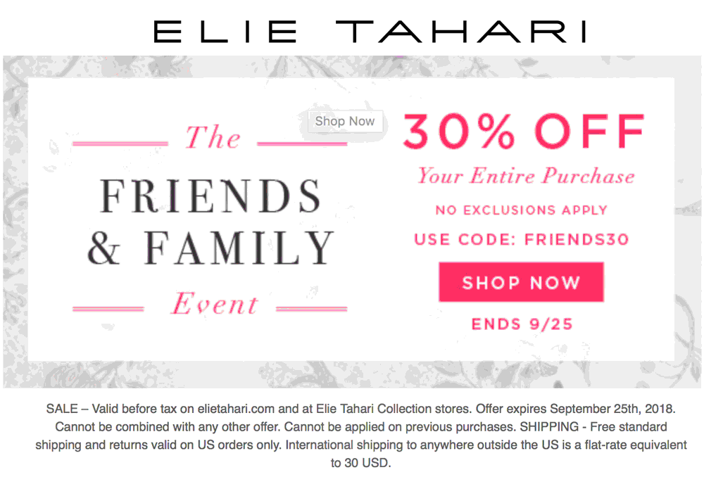 Elie Tahari Coupon November 2019 30% off everything at Elie Tahari, or online via promo code FRIENDS30