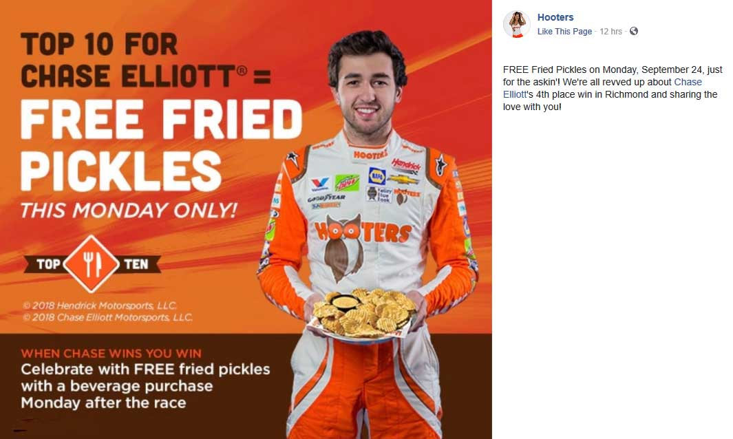 Hooters Coupon November 2019 Free fried pickles with your drink today at Hooters restaurants