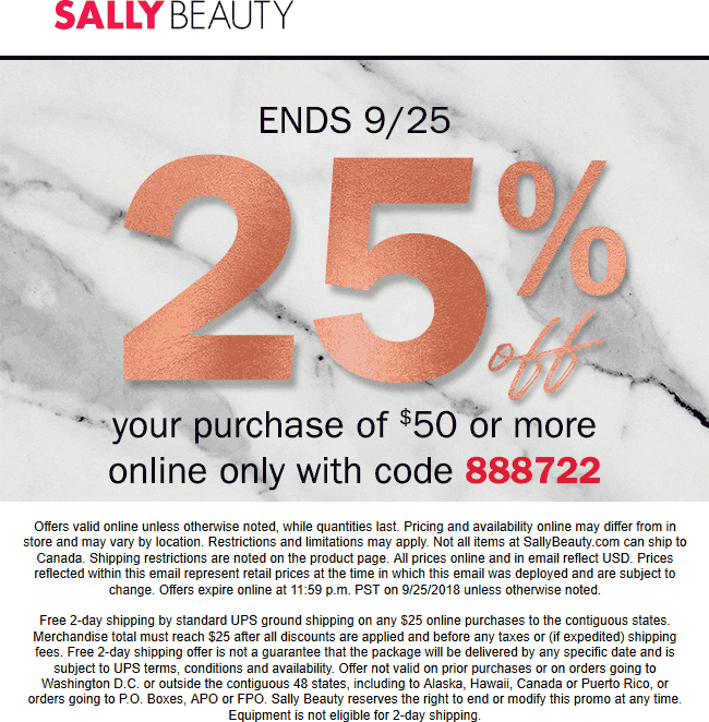 Sally Beauty Coupon May 2019 25% off $50 online at Sally Beauty via promo code 888722