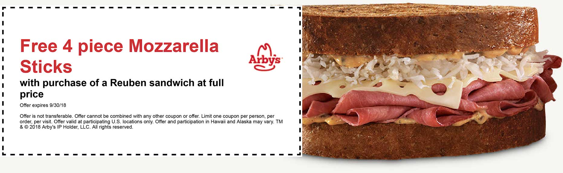 Arbys Coupon May 2019 Free mozzarella sticks with your Reuben sandwich at Arbys