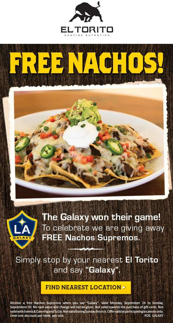 El Torito Coupon November 2019 Free nachos at El Torito restaurants