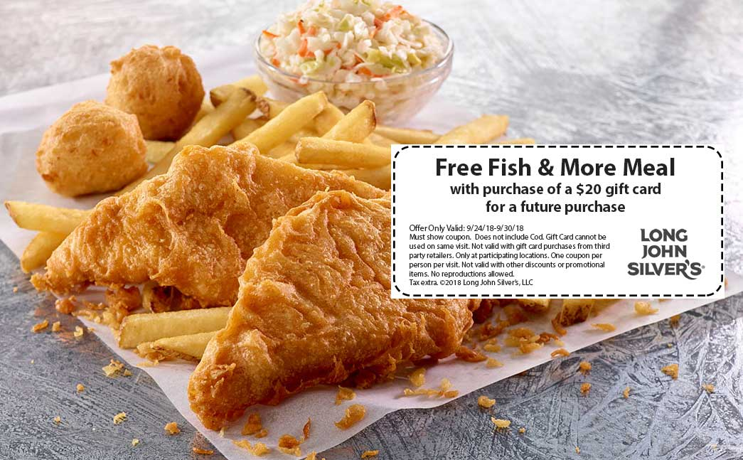 Long John Silvers Coupon July 2019 Free fish & more meal with your gift card at Long John Silvers