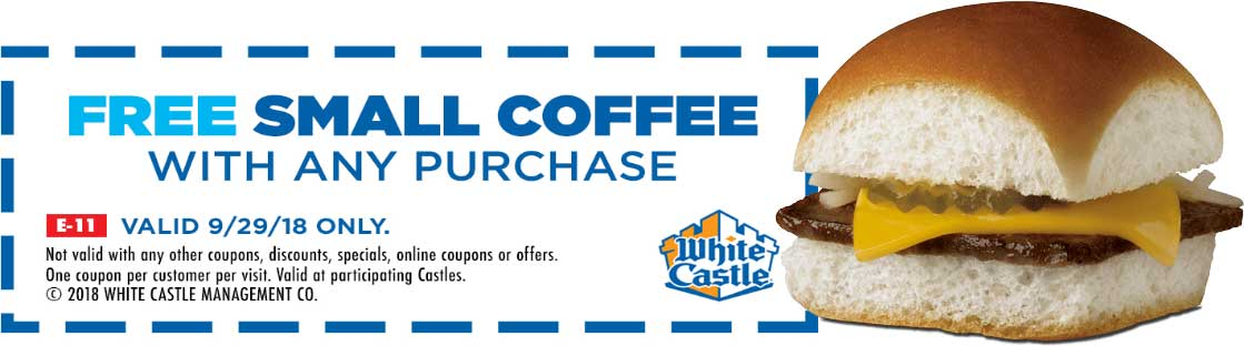 White Castle Coupon July 2019 Free coffee with any order Saturday at White Castle