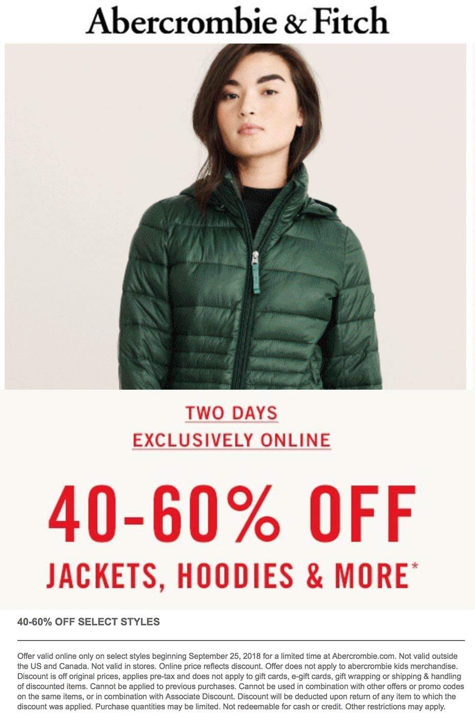 Abercrombie & Fitch Coupon July 2019 40-60% off jackets & hoodies online today at Abercrombie & Fitch