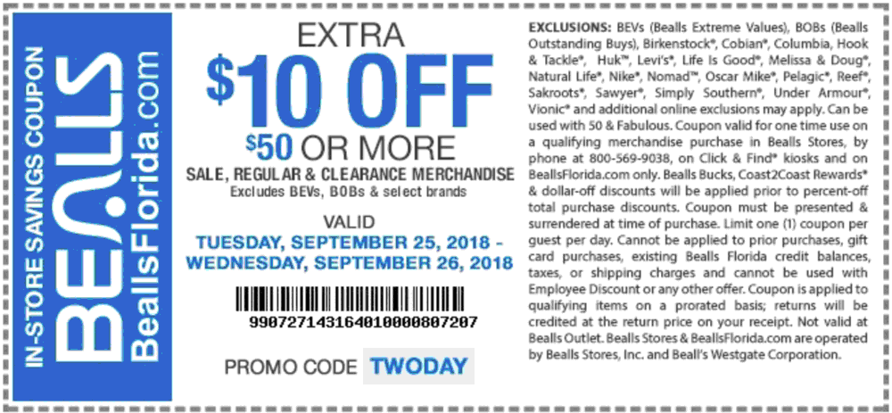 Bealls Coupon November 2019 $10 off $50 today at Bealls, or online via promo code TWODAY