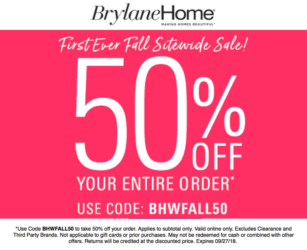 Brylane Home Coupon July 2019 50% off everything at Brylane Home catalog via promo code BHWFALL50