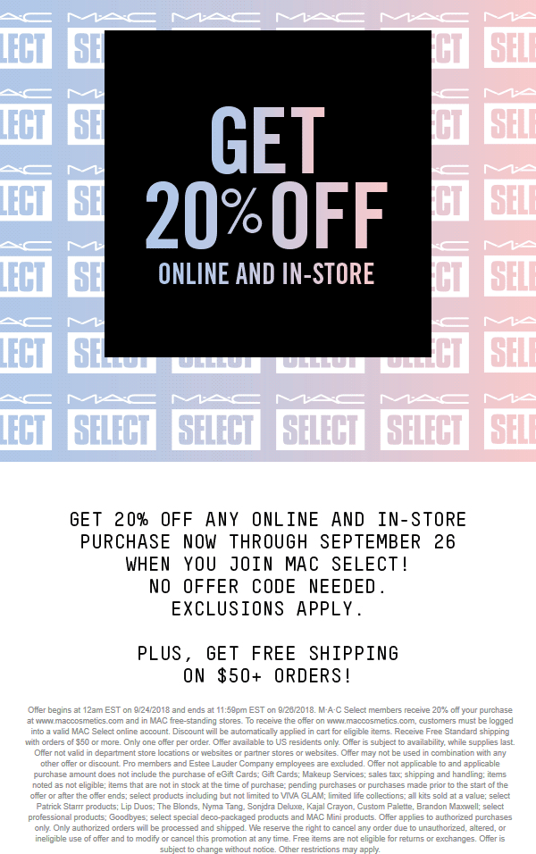 MAC Coupon May 2019 20% off today at MAC Cosmetics, ditto online