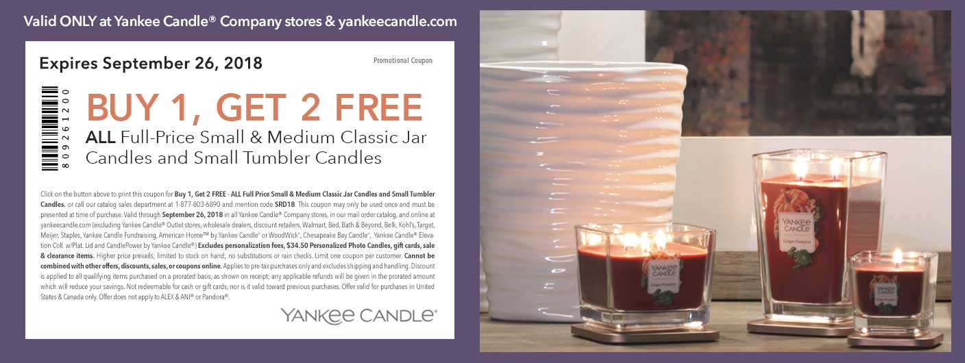 Yankee Candle Coupon November 2019 3-for-1 today at Yankee Candle, or online via promo code SRD18
