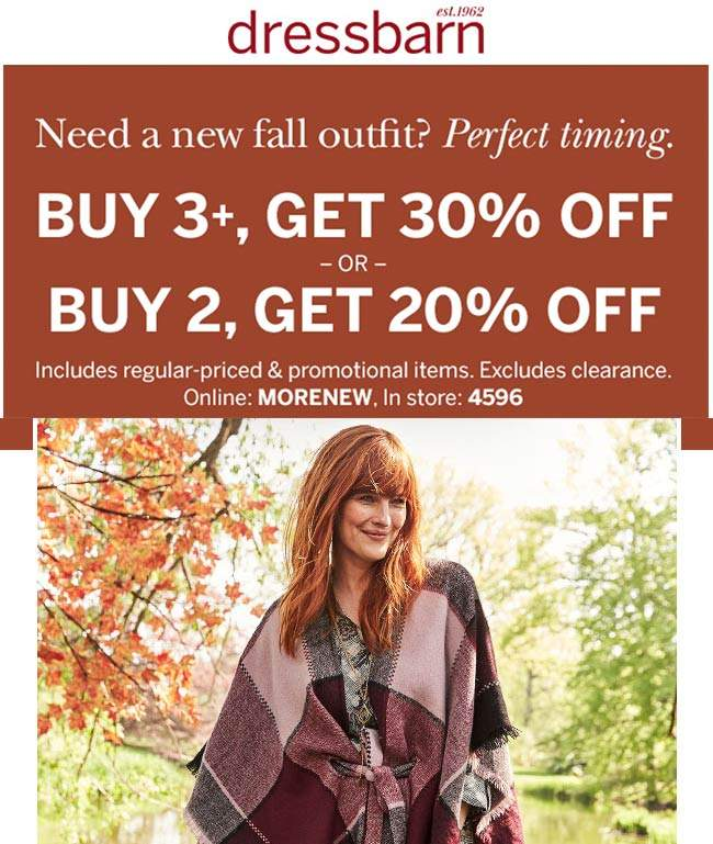 Dressbarn Coupon January 2020 20-30% off 2+ items at Dressbarn, or online via promo code MORENEW