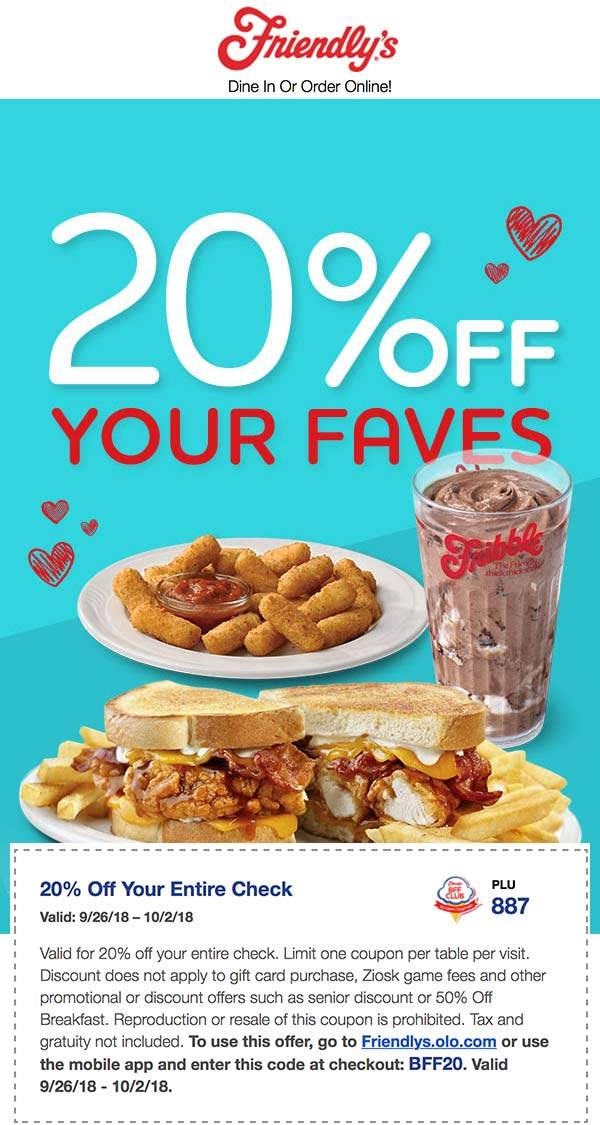 Friendlys Coupon September 2019 20% off at Friendlys restaurants