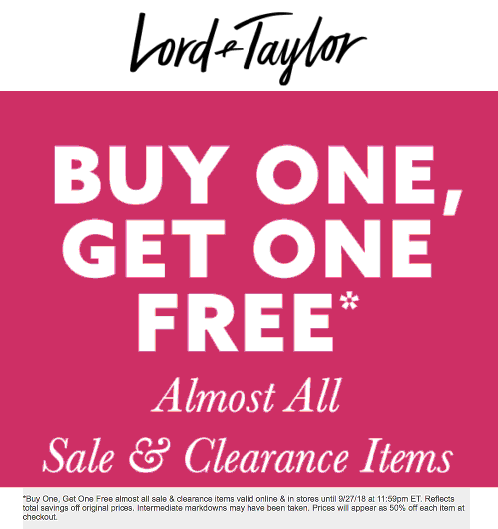 Lord & Taylor Coupon December 2019 Second sale or clearance free today at Lord & Taylor, ditto online