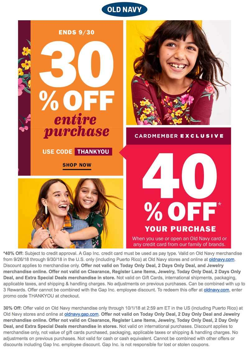 Old Navy Coupon January 2020 30% off at Old Navy, or online via promo code THANKYOU