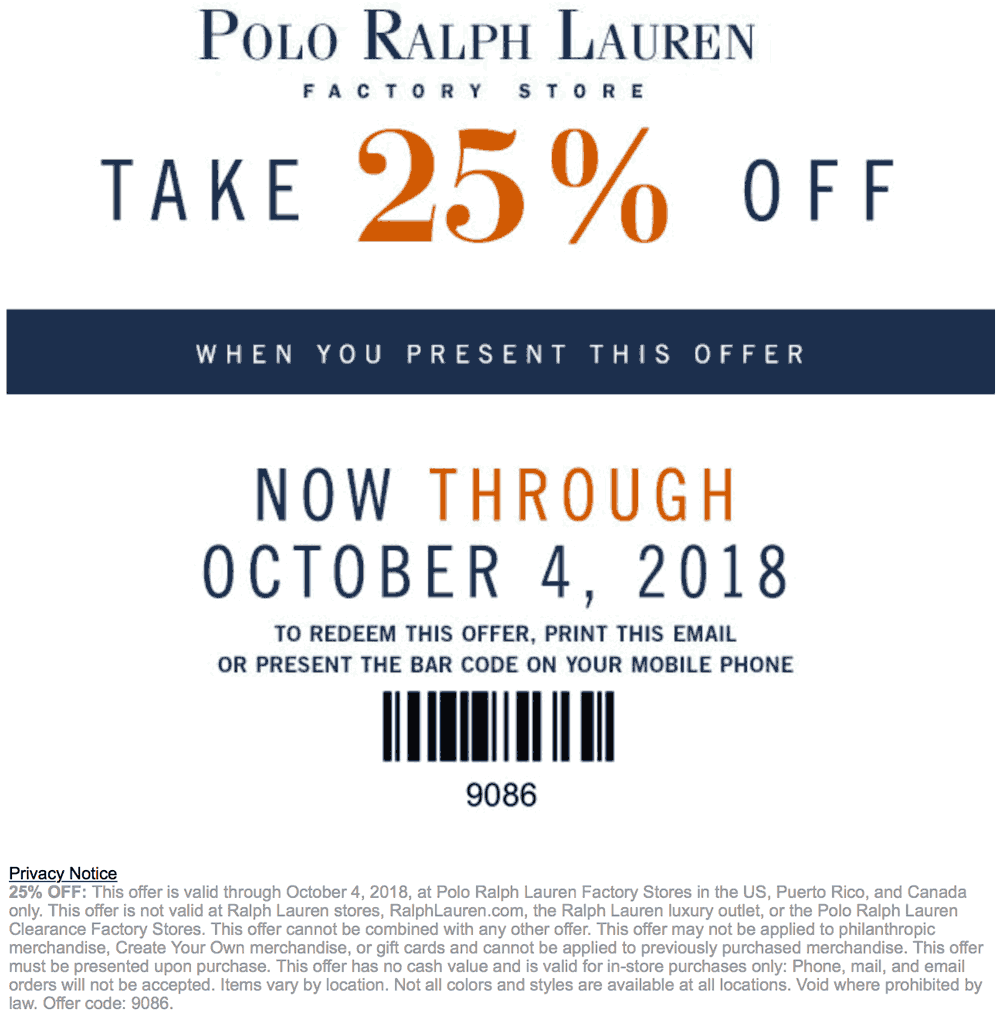 Polo Ralph Lauren Factory Coupon May 2019 25% off at Polo Ralph Lauren Factory