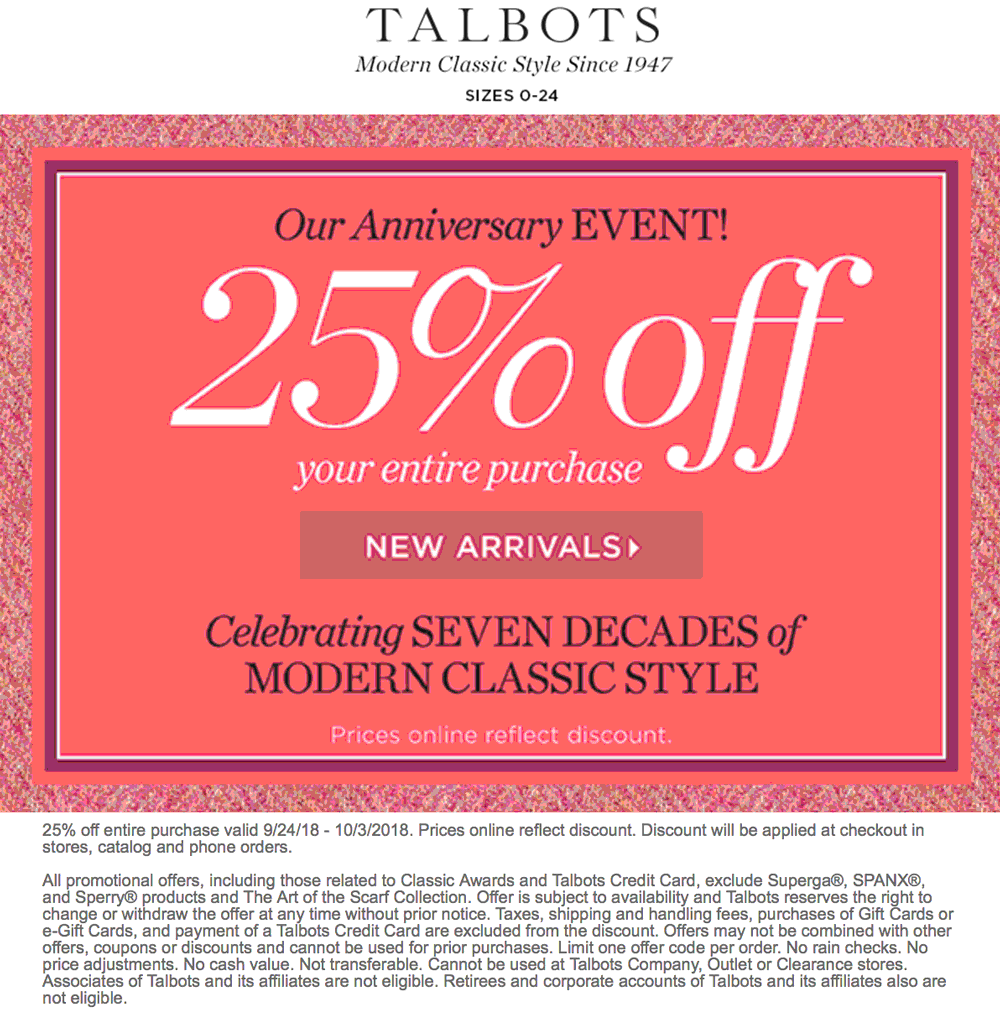 Talbots Coupon November 2019 25% off at Talbots, ditto online