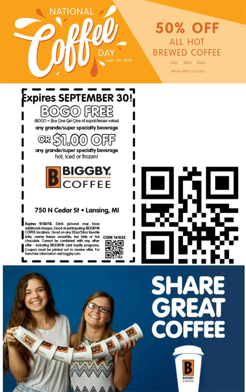 Biggby Coffee Coupon July 2019 50% off Saturday + second beverage free at Biggby Coffee