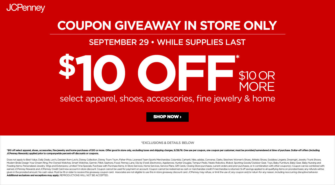 JCPenney Coupon June 2019 $10 off $10 while it lasts today at JCPenney