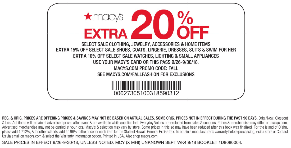 Macys Coupon November 2019 Extra 20% off sale apparel at Macys, or online via promo code FALL