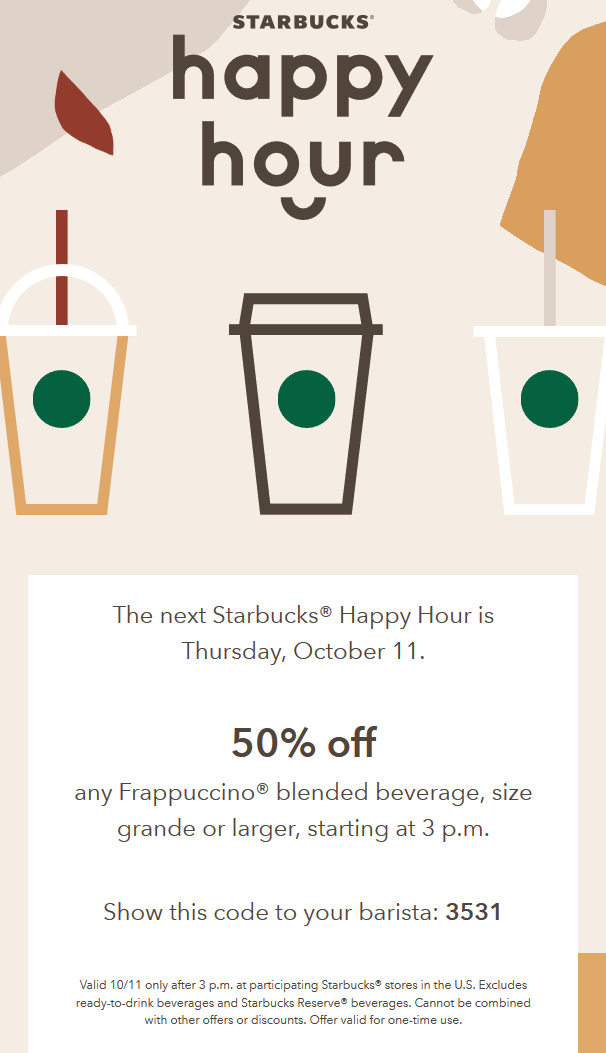 Starbucks Coupon November 2019 50% off Frappuccinos the 11th at Starbucks coffee