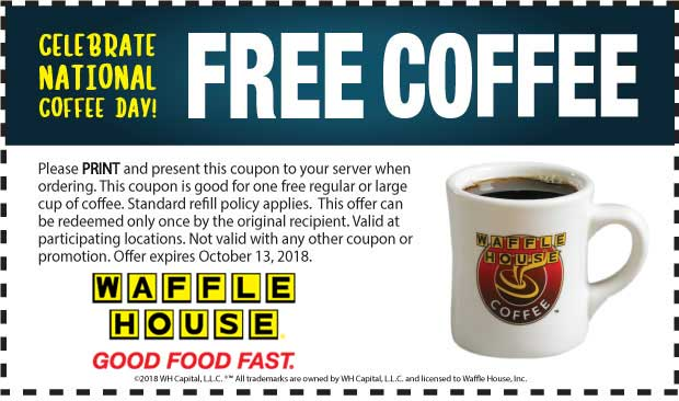 Waffle House Coupon December 2019 Free coffee at Waffle House