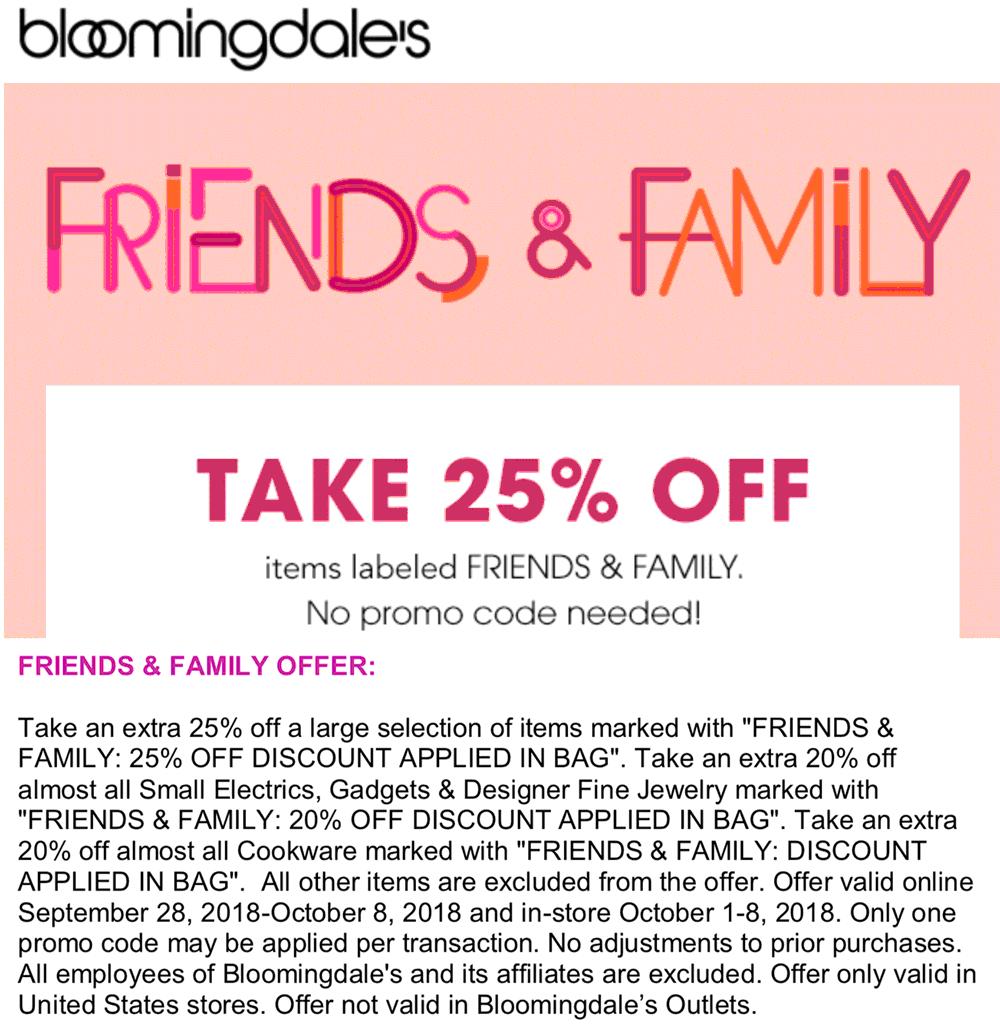 Bloomingdales Coupon November 2019 25% off at Bloomingdales, ditto online