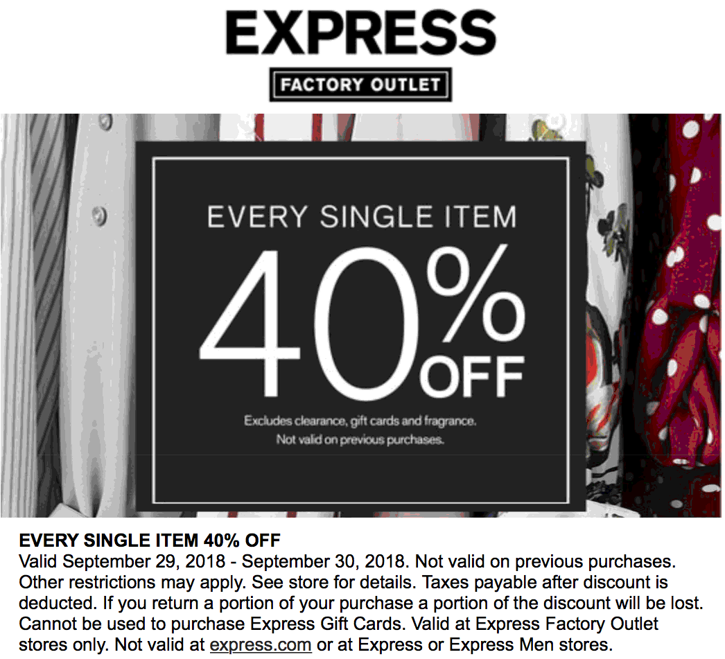 Express Factory Outlet Coupon June 2019 40% off everything today at Express Factory Outlet