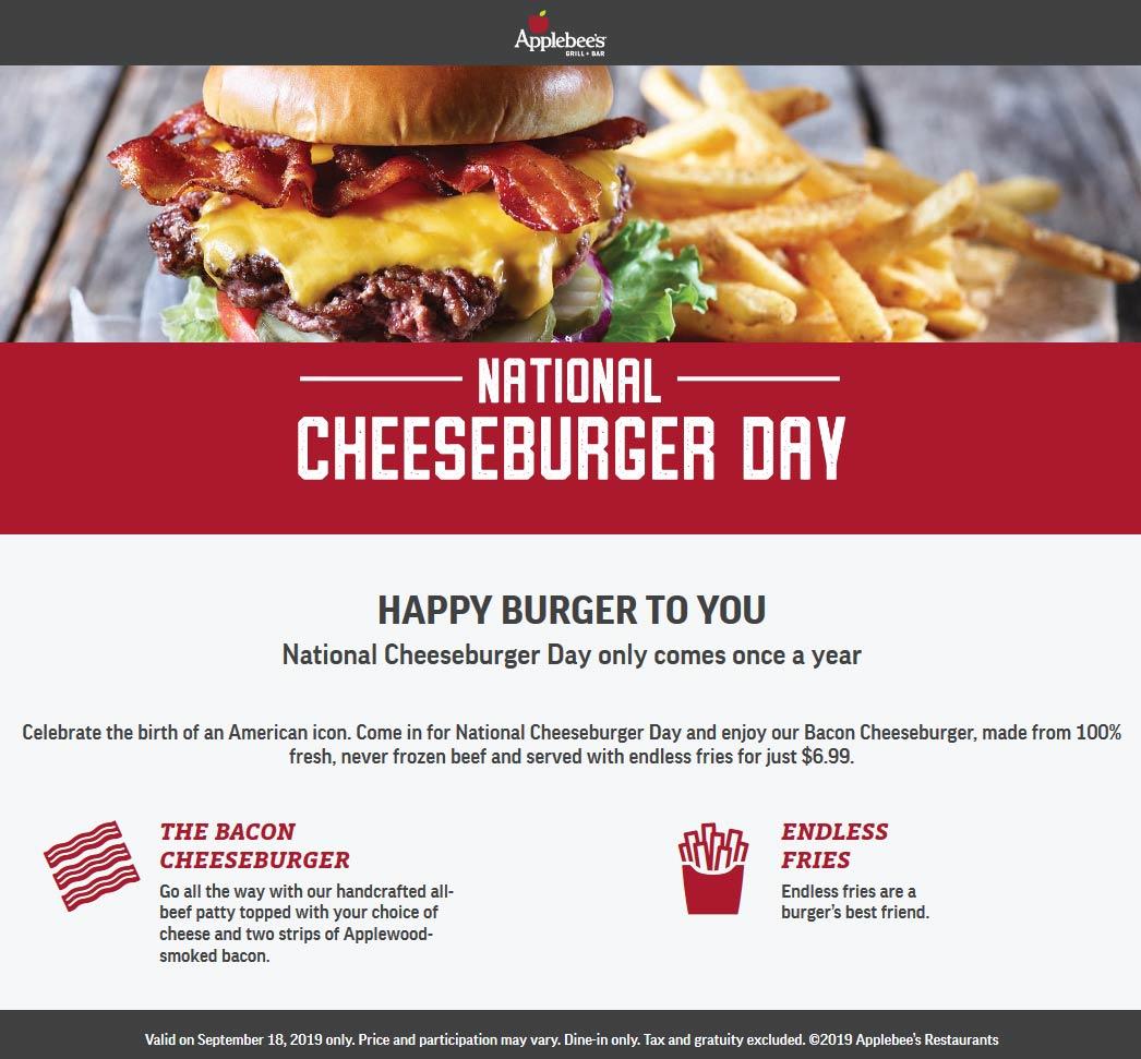 Applebees Coupon October 2019 Bacon cheeseburger + endless fries = $7 today at Applebees
