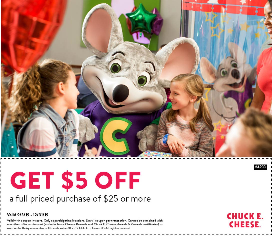 Chuck E. Cheese Coupon January 2020 $5 off $25 at Chuck E. Cheese pizza