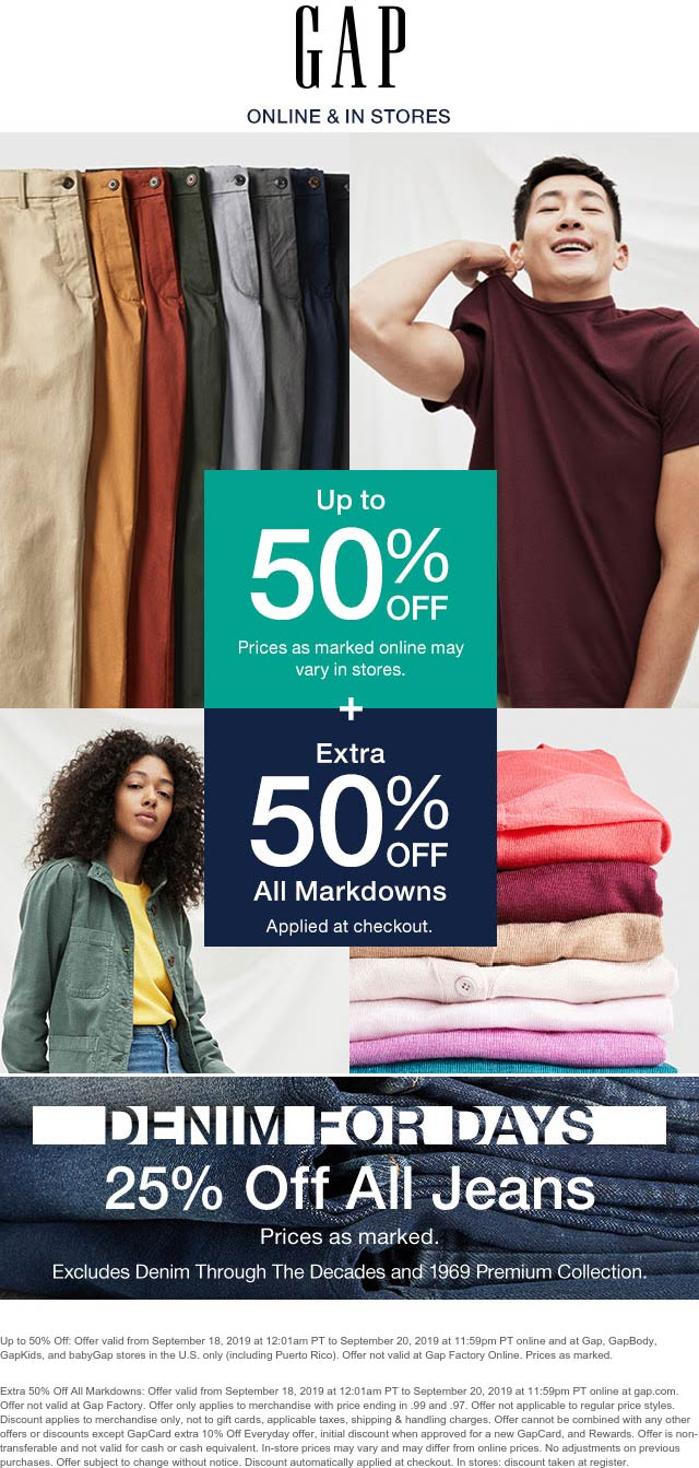 Gap Coupon January 2020 Extra 50% off markdowns & more at Gap, ditto online
