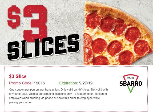 Sbarro Coupon October 2019 $3 slices at Sbarro pizza