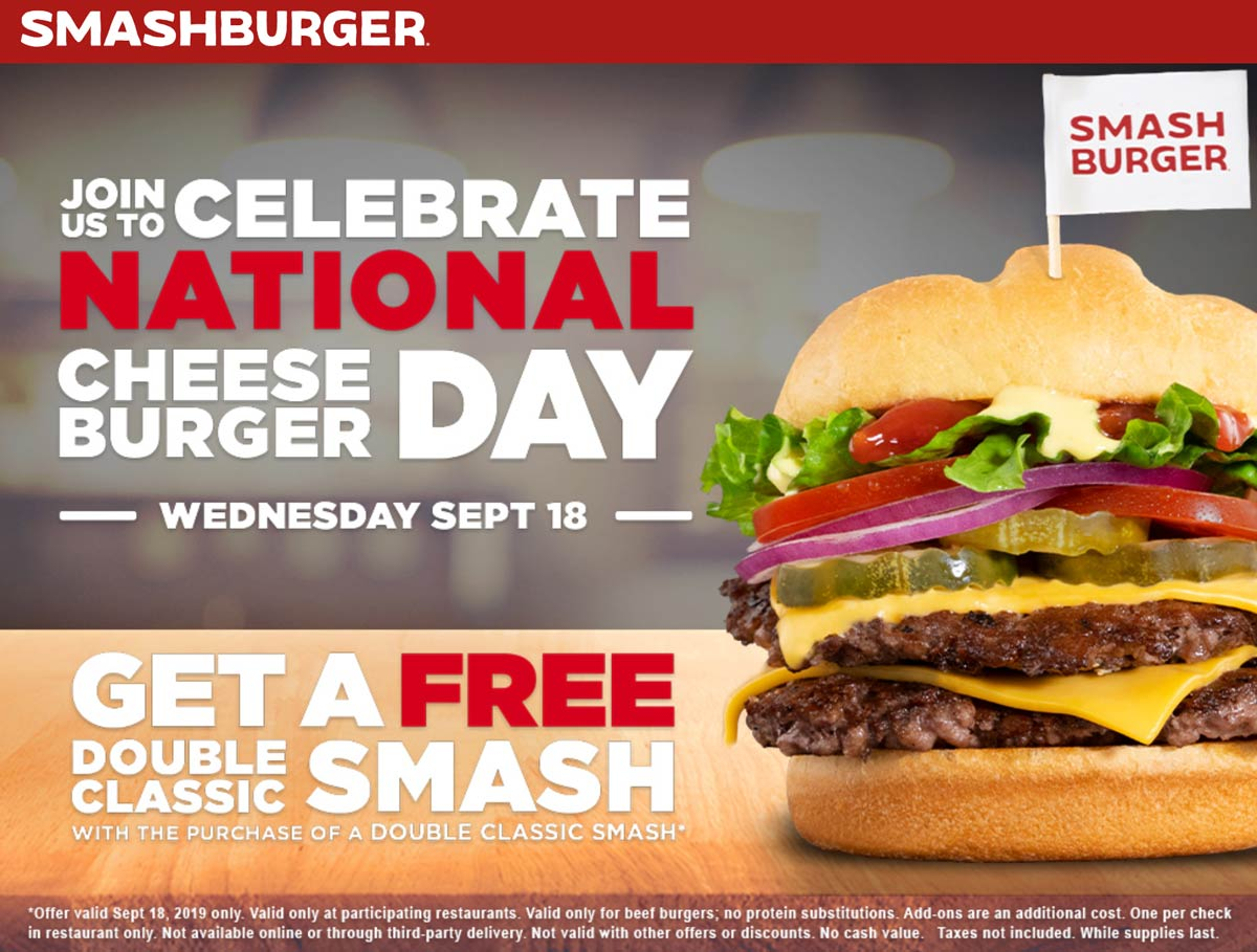 Smashburger Coupon October 2019 Second double cheeseburger free today at Smashburger