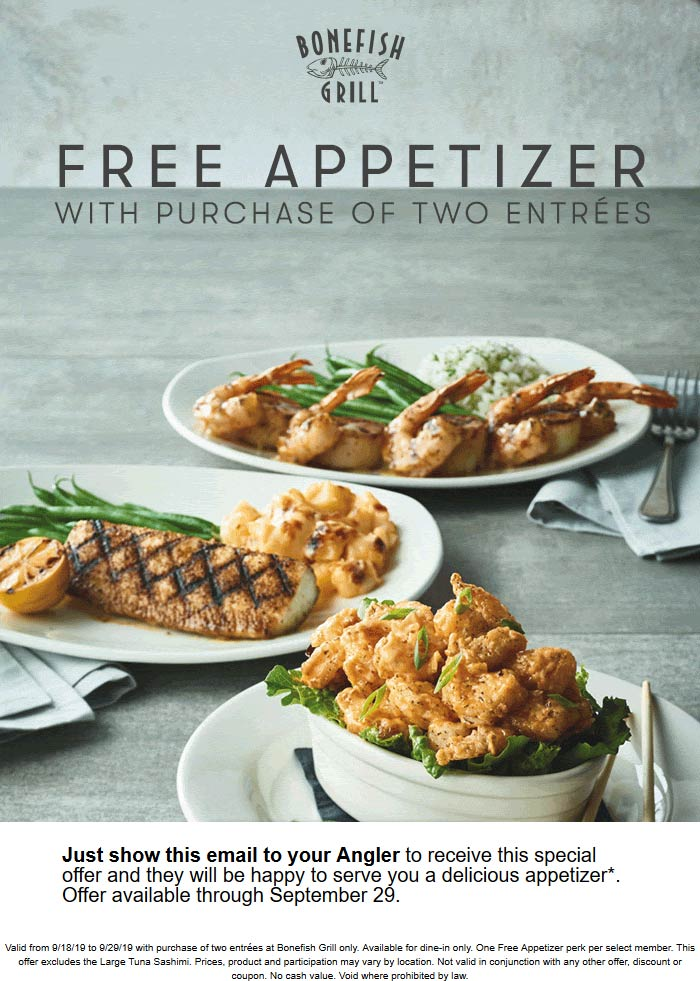 Bonefish Grill Coupon October 2019 Free appetizer with your entrees at Bonefish Grill