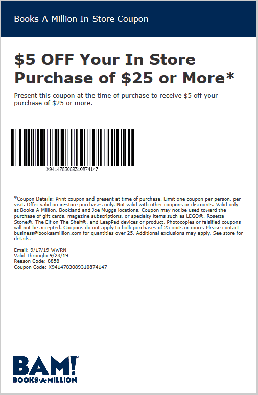 Books-A-Million Coupon November 2019 $5 off $25 at Books-A-Million