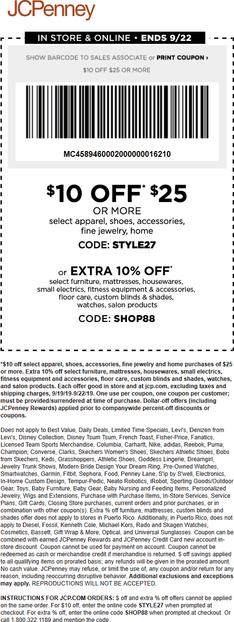 JCPenney Coupon November 2019 $10 off $25 at JCPenney, or online via promo code STYLE27