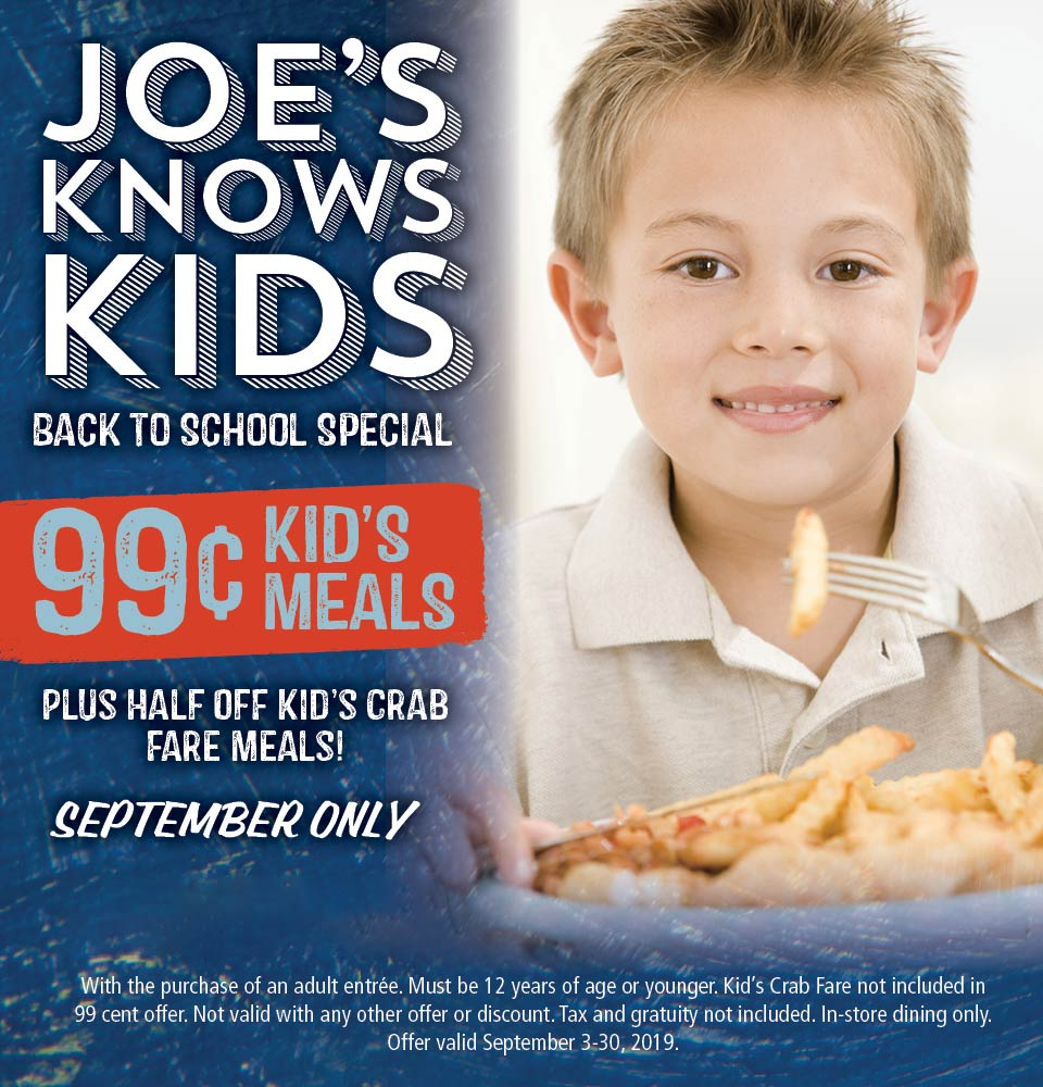 Joes Crab Shack Coupon January 2020 $1 kids meals at Joes Crab Shack
