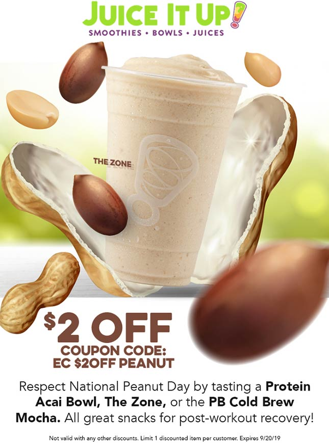 Juice It Up Coupon October 2019 $2 off at Juice It Up smoothie bar