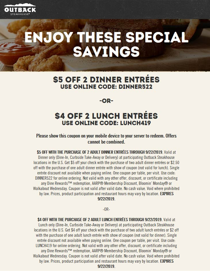 Outback Steakhouse Coupon October 2019 $4-$5 off your entrees at Outback Steakhouse
