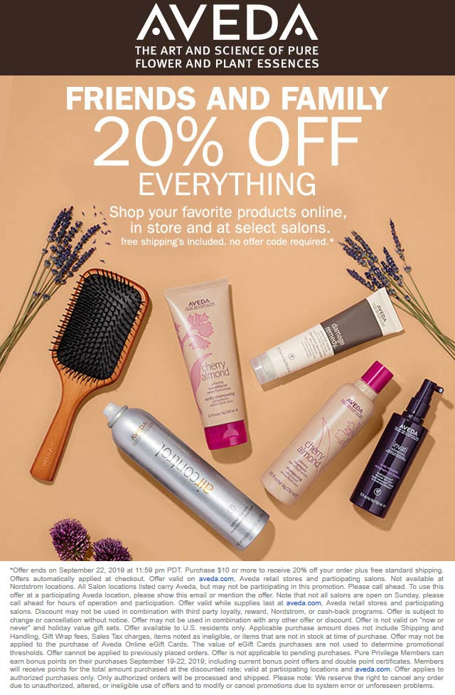 Aveda Coupon January 2020 20% off everything at AVEDA, ditto online
