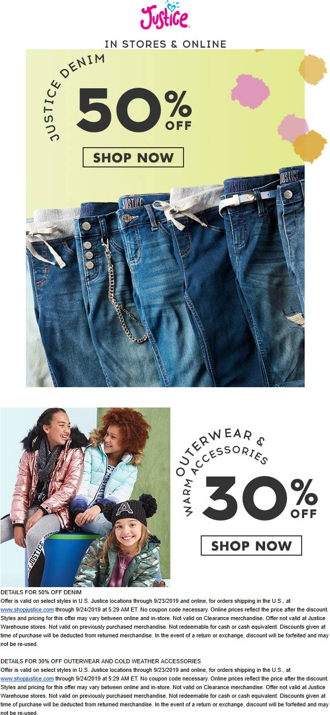 Justice Coupon October 2019 50% off denim & more at Justice, ditto online