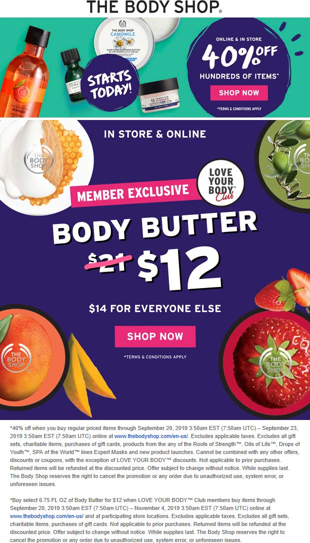 The Body Shop Coupon October 2019 40% off at The Body Shop, ditto online