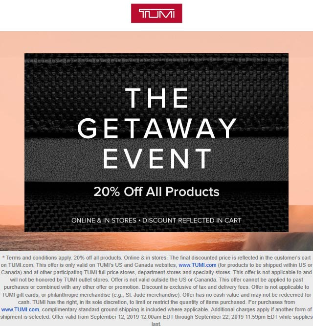 TUMI Coupon November 2019 20% off everything at TUMI, ditto online