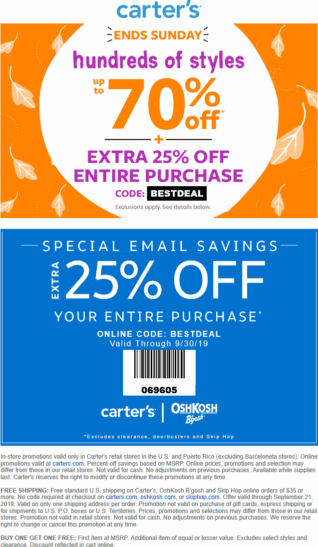 Carters Coupon November 2019 Extra 25% off at Carters, or online via promo code BESTDEAL