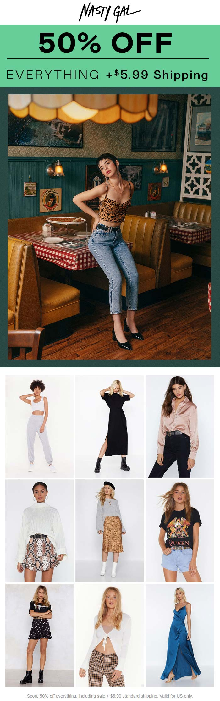 Nasty Gal Coupon January 2020 50% off everything at Nasty Gal