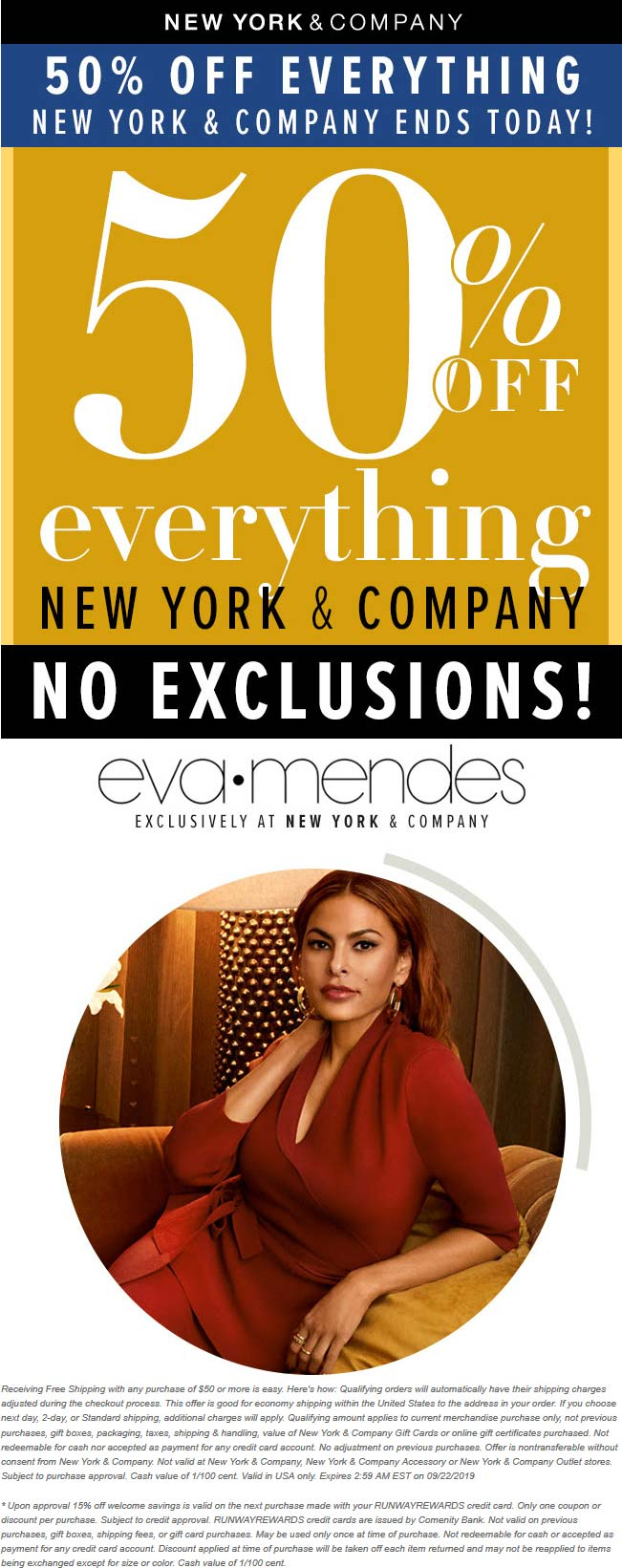 New York & Company Coupon January 2020 50% off today at New York & Company, ditto online