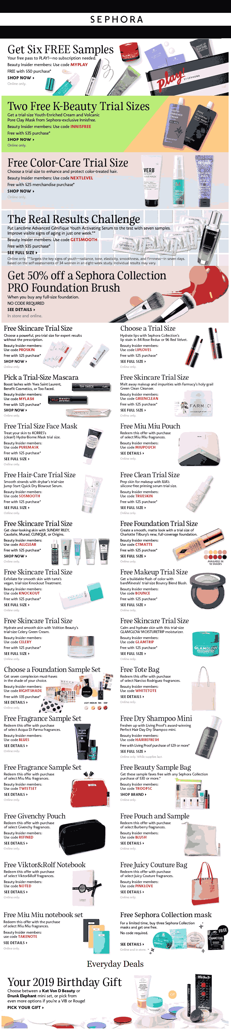 Sephora Coupon October 2019 Various free items with $25 spent online at Sephora