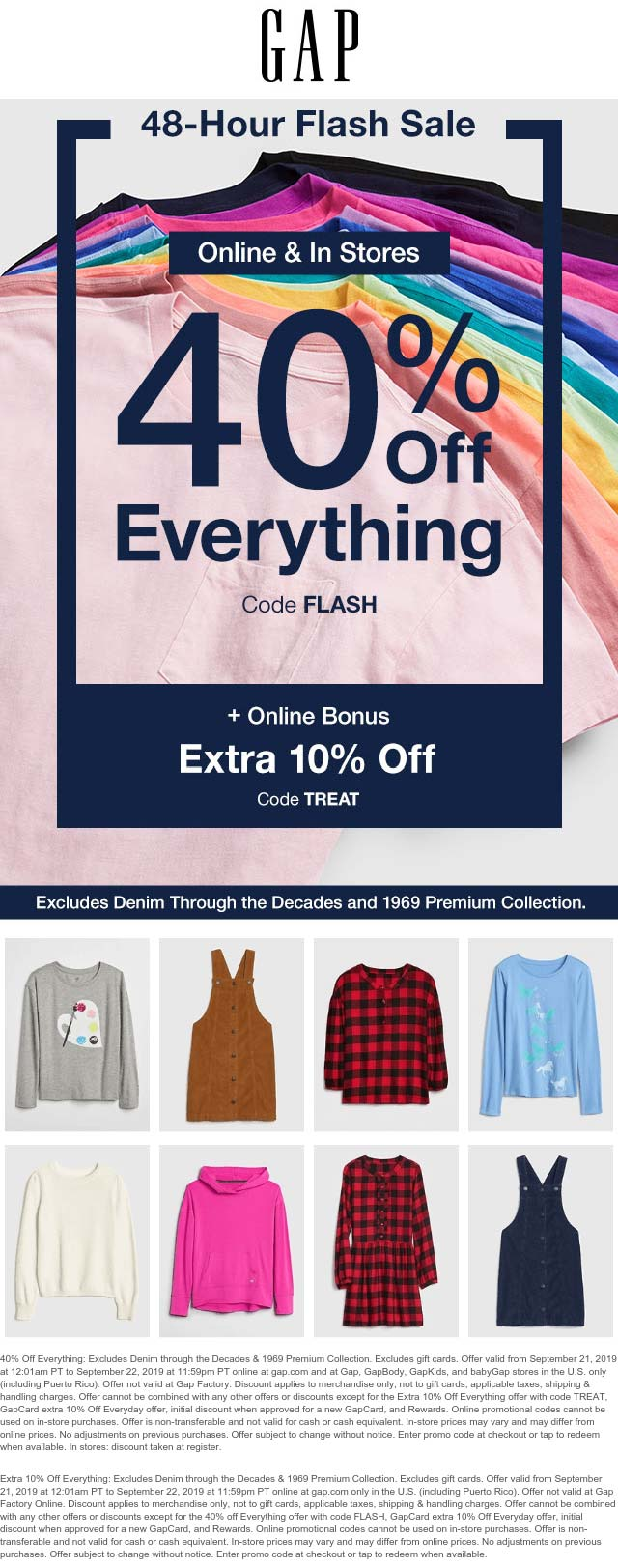 Gap Coupon January 2020 40% off everything today at Gap, or 50% online via promo code FLASH & TREAT